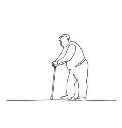 Elderly overweight man with stick one line vector