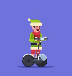 elf boy santa claus helper ride electric scooter vector image