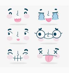 emojis kawaii cartoon faces human expressions set vector image