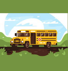 Empty school bus on trip excursion vector