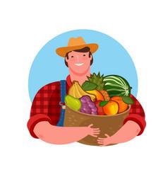 Farmer holding a basket fresh fruit natural vector