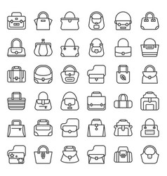 Fashion bag outline icon in various style such as vector