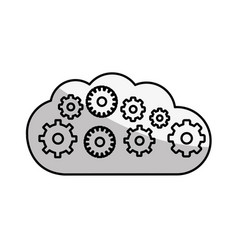Figure cloud with gears inside icon vector