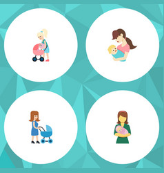 Flat icon parent set child perambulator woman vector