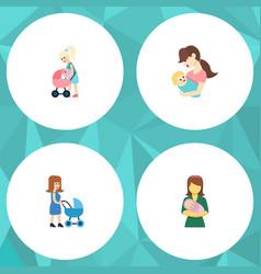 Flat icon parent set of child perambulator woman vector
