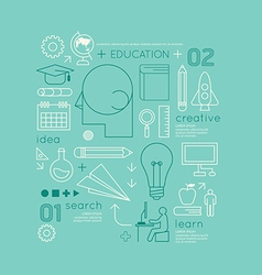 Flat linear Infographic Education Outline vector