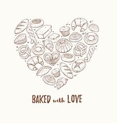 Fresh bread heart poster vector