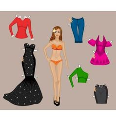 girl in a bathing suit with a set different clo vector image