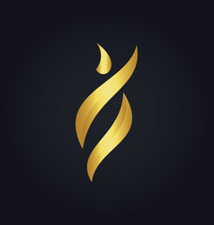 Gold abstract beauty woman logo vector