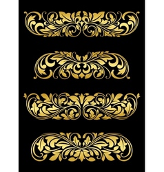 Golden floral elements and embellishments vector