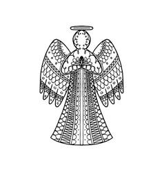 Hand drawn entangle angel vector