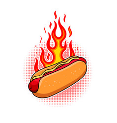 hot dog in engraving style design element vector image