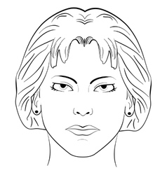 ink sketch head women face pattern vector image