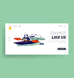 Inuit esquimau fishing landing page template vector