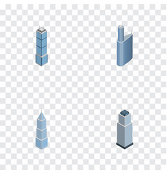 Isometric construction set of apartment exterior vector