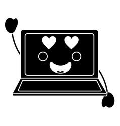 laptop computer kawaii character screen vector image