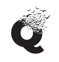 Letter q with effect destruction dispersion vector
