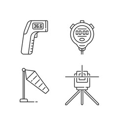 Measuring tools linear icons set vector