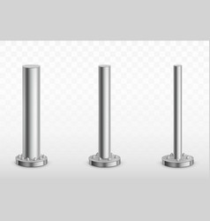 Metal pole pillars steel pipes cylinder footings vector