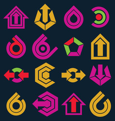 multimedia signs collection isolated on black vector image