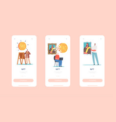nft mobile app page onboard screen template vector image