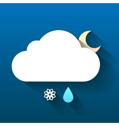 Night cloud snow flake and rain drop isolated on vector