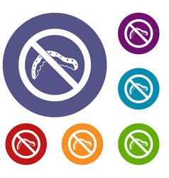 No caterpillar sign icons set vector