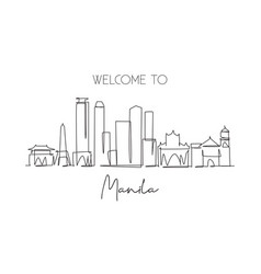 One single line drawing manila city skyline vector
