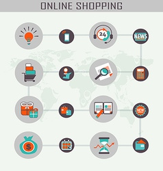 Online shopping icons vector