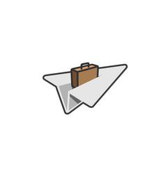 origami paper symbolic aircraft creative air logo vector image