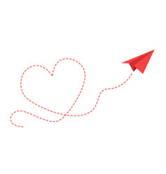 paper plane with heart path flying airplane vector image