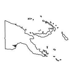 Papua new guinea map of black contour curves on vector