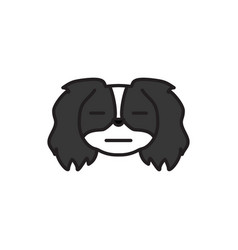 Pekingese emoji concerned multicolored icon signs vector