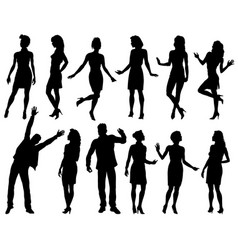 people silhouettes set vector image