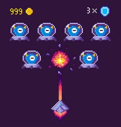 pixel game space graphics 8 bit aliens spacecraft vector image