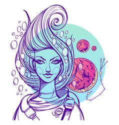Portrait of the girl symbolizes the zodiac sign vector