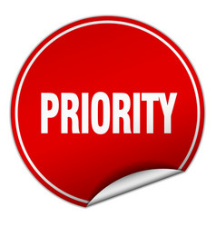 Priority round red sticker isolated on white vector