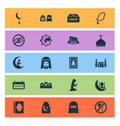 Religion icons set with islam halal mecca and vector