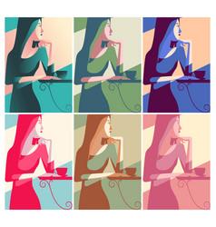 retro color woman having a coffee vector image