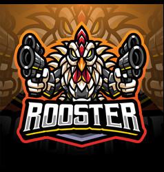 Rooster gunners cyborg mascot logo vector