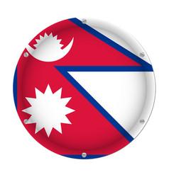 round metallic flag of nepal with screws vector image