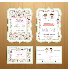 rustic blossom flowers wedding invitation card vector image
