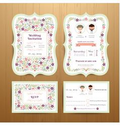 Rustic blossom flowers wedding invitation card vector