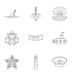 Sailor icons set outline style vector