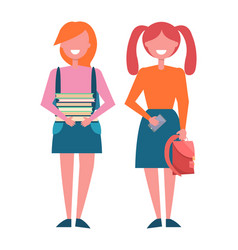 School girls with pile of books in hands rucksack vector