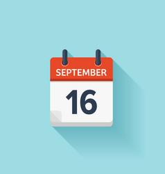 September 16 flat daily calendar icon vector