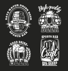 set beer on dark background vector image