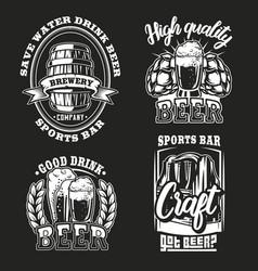 Set beer on dark background vector
