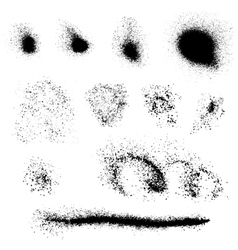 set black blots and ink splashes isolated on vector image