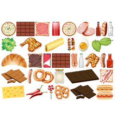 Set isolated objects theme - desserts and food vector